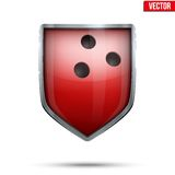 Bright shield in the bowling ball inside. Vector. Stock Images
