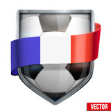 Bright shield in the football ball inside with French ribbons. Royalty Free Stock Photography