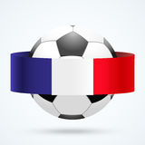 Bright shield in the football ball inside with French ribbons. Stock Photo