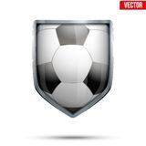 Bright shield in the football ball inside. Vector. Stock Photo