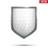 Bright shield in the golf ball inside. Vector. Stock Photography