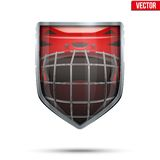 Bright shield in the ice hockey helmet inside. Stock Image