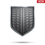 Bright Shield In The Racing Tire Inside. Vector. Stock Photo