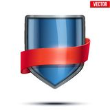 Bright shield with ribbon. Stock Photography