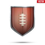 Bright shield in the rugby ball inside. Vector. Stock Images