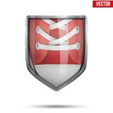 Bright shield in the running shoes inside. Vector. Stock Photography