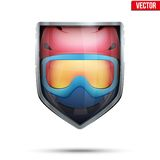 Bright shield in the ski helmet and goggles inside Stock Images