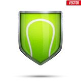 Bright shield in the tennis ball inside. Vector. Stock Images