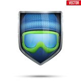 Bright shield in the winter cap and ski goggles Royalty Free Stock Photos