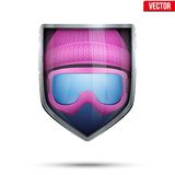 Bright shield in the winter cap and ski goggles Stock Image