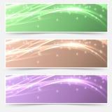 Bright shimmering glitter headers set templates Stock Photos