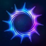 Bright shining blue neon spiral sun at dark cosmic Stock Photos