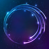 Bright shining neon lights circle background Stock Images