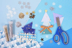 Bright and shiny accessories for Christmas craft and scrapbookin Royalty Free Stock Photography