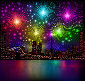 Bright shiny background with night city and glowing. Illustration bright shiny background with night city and glowing fireworks salute Stock Photography