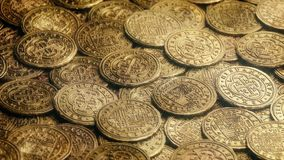 Shiny Gold Coins Rotating. Bright shiny gold coins rotate stock video