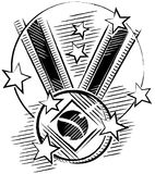 Bright and shiny medal champions. Black and white drawing of a medal in sketch format with stars around Stock Photo