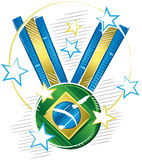 Bright and shiny medal champions. Colored drawing of a medal with a symbol of Brazil flag in sketch format with stars around Royalty Free Stock Image