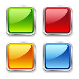 Bright shiny metal square web buttons, red, blue, Royalty Free Stock Photos