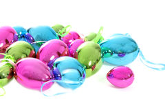 Bright shiny metallic Easter egg ornaments Royalty Free Stock Photos