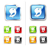 Bright shiny metallic sticker blue birds icon Stock Photos