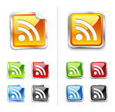 Bright shiny metallic sticker rss icon and button Stock Image