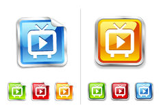 Bright shiny metallic sticker tv icon and button Royalty Free Stock Photography