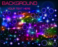Bright shiny neon background with circles and lines Stock Image