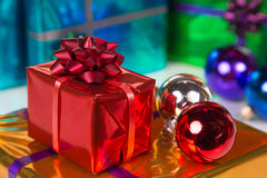 Bright and shiny xmas gift boxes Royalty Free Stock Photography