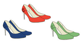 Bright shoes with heels  vector Royalty Free Stock Images