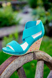 Bright shoes, women's sandals, shoes in the garden. A Stock Photos