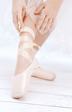 Bright shot of dancer's feet Royalty Free Stock Photo