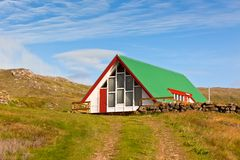 Bright Siding Houses in Small Iceland Town Stock Photos