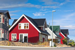 Bright Siding Houses in Small Iceland Town Stock Image