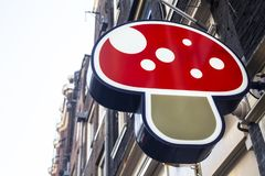 Bright sign with 3d mushroom stock photography