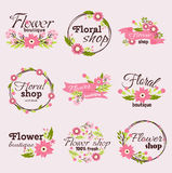 Bright sign flower shop vector illustration. Royalty Free Stock Photography