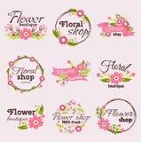 Bright sign flower shop vector illustration. Bright logo for flower shop. Set hand drawn emblems and floral signs for flower shop. Flower shop labels. Doodles Royalty Free Stock Photography