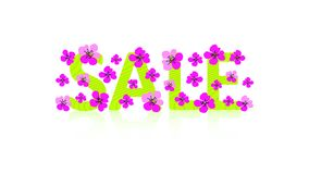 Bright sign. Green text `SALE` and pink flowers. Cute vector illustration. Design floral concept can be used for ad, promotion vector illustration