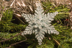 Bright silver six point star decoration on christmas tree Stock Photography
