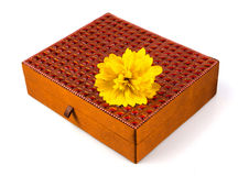 Bright simple brown box for make-up, jewelry, decorations with b Royalty Free Stock Image