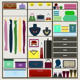 Bright simple graphic illustration with sliding-door wardrobe in Stock Photography