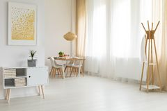 Bright and simple interior. Bright and simple home interior design in eco style royalty free stock photo