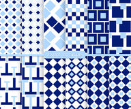 Bright and simple light and dark blue pattern set Stock Photos