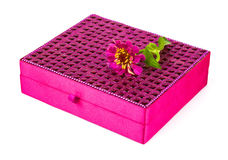 Bright simple magenta box for make-up, jewelry, decorations with Royalty Free Stock Photography