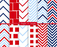 Bright and simple red and blue squares pattern set Royalty Free Stock Images