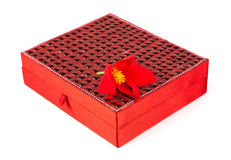 Bright simple red box for make-up, jewelry, decorations with bea Royalty Free Stock Images