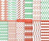 Bright and simple red red and green pattern set Royalty Free Stock Images