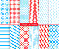 Bright and simple red and shades of blue pattern set. Seamless stylish geometric background set. Simple patterns.Each pattern grouped on separate layer under Stock Images