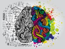 Bright sketchy doodles about brain. With colored elements royalty free illustration