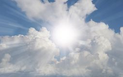 Bright sky. Bright sun shining in clouds Stock Images